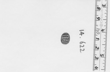 <em>Scarab</em>, ca. 1539-1292 B.C.E. Steatite, glaze, 1/4 × 3/8 × 1/2 in. (0.7 × 0.9 × 1.2 cm). Brooklyn Museum, Gift of the Egypt Exploration Fund, 14.622. Creative Commons-BY (Photo: Brooklyn Museum, CUR.14.622_NegA_print_bw.jpg)