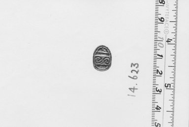 <em>Scarab with Scroll Design</em>, ca. 1539-1292 B.C.E. Steatite, glaze, 1/4 × 7/16 × 9/16 in. (0.7 × 1.1 × 1.4 cm). Brooklyn Museum, Gift of the Egypt Exploration Fund, 14.623. Creative Commons-BY (Photo: Brooklyn Museum, CUR.14.623_NegA_print_bw.jpg)
