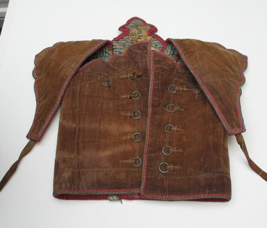 <em>Armor (Jacket Worn under Armor)</em>, 19th century. Velvet, 33 1/4 x 20 1/2 in. (84.5 x 52 cm). Brooklyn Museum, Museum Expedition 1913-1914, Museum Collection Fund, 14.722. Creative Commons-BY (Photo: Brooklyn Museum, CUR.14.722_view1.jpg)