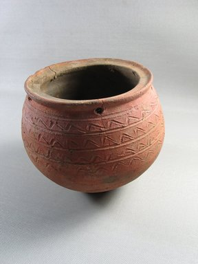 <em>Jar</em>, 30 B.C.E - 395 C.E. Clay, 5 1/16 × Diam. 6 1/8 in. (12.8 × 15.5 cm). Brooklyn Museum, Gift of Colonel Robert B. Woodward, 14.730. Creative Commons-BY (Photo: Brooklyn Museum, CUR.14.730_view1.jpg)
