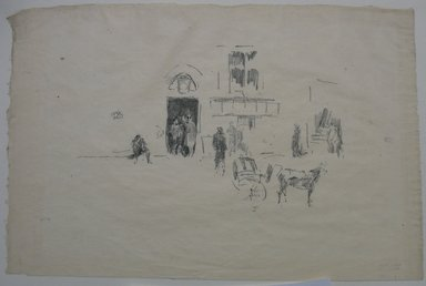 James Abbott McNeill Whistler (American, 1834-1903). <em>Gaiety Stage Door</em>, 1879. Lithograph, irregular: 8 1/4 x 12 5/16 in. (21 x 31.3 cm). Brooklyn Museum, Gift of the Rembrandt Club, 15.375 (Photo: Brooklyn Museum, CUR.15.375.jpg)