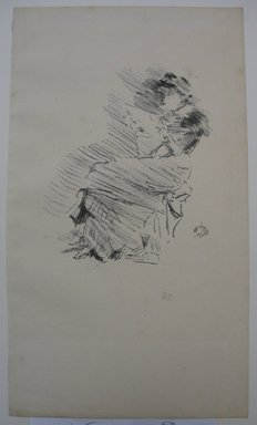 James Abbott McNeill Whistler (American, 1834-1903). <em>Reading</em>, 1879, 1887. Lithograph, 12 1/2 x 7 3/16 in. (31.8 x 18.3 cm). Brooklyn Museum, Gift of the Rembrandt Club, 15.378 (Photo: Brooklyn Museum, CUR.15.378.jpg)