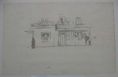 James Abbott McNeill Whistler (American, 1834-1903). <em>Chelsea Shops</em>, 1888. Lithograph, 8 x 12 3/16 in. (20.3 x 31 cm). Brooklyn Museum, Gift of the Rembrandt Club, 15.381 (Photo: Brooklyn Museum, CUR.15.381.jpg)