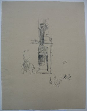 James Abbott McNeill Whistler (American, 1834-1903). <em>Cocks and Hens, Hotel Colbert</em>, 1891. Lithograph, 12 1/8 x 9 1/4 in. (30.8 x 23.5 cm). Brooklyn Museum, Gift of the Rembrandt Club, 15.386 (Photo: Brooklyn Museum, CUR.15.386.jpg)