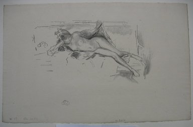James Abbott McNeill Whistler (American, 1834-1903). <em>Nude Model Reclining</em>, 1893. Lithograph, 8 5/16 x 13 in. (21.1 x 33 cm). Brooklyn Museum, Gift of the Rembrandt Club, 15.392 (Photo: Brooklyn Museum, CUR.15.392.jpg)