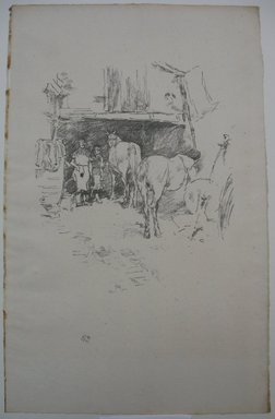 James Abbott McNeill Whistler (American, 1834-1903). <em>The Smith's Yard</em>, 1895. Lithograph, 13 1/16 x 8 3/8 in. (33.2 x 21.3 cm). Brooklyn Museum, Gift of the Rembrandt Club, 15.407 (Photo: Brooklyn Museum, CUR.15.407.jpg)