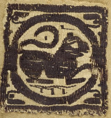 Coptic. <em>Square Fragment with Lion</em>, 5th century C.E. Flax, wool, 4 1/2 x 4 1/2 in. (11.4 x 11.4 cm). Brooklyn Museum, Gift of the Egypt Exploration Fund, 15.436. Creative Commons-BY (Photo: Brooklyn Museum (in collaboration with Index of Christian Art, Princeton University), CUR.15.436_view1_ICA.jpg)