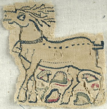 Coptic. <em>Stag</em>, 6th century C.E. Flax, wool, 2 1/4 x 2 1/8 in. (5.7 x 5.4 cm). Brooklyn Museum, Gift of the Egypt Exploration Fund, 15.437. Creative Commons-BY (Photo: Brooklyn Museum (in collaboration with Index of Christian Art, Princeton University), CUR.15.437_ICA.jpg)