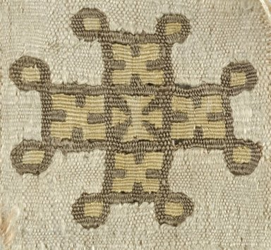 Coptic. <em>Fragment with Cross Decoration</em>, 5th-6th century C.E. Silk, linen, 1 3/4 x 1 1/2 in. (4.4 x 3.8 cm). Brooklyn Museum, Gift of the Egypt Exploration Fund, 15.439. Creative Commons-BY (Photo: Brooklyn Museum (in collaboration with Index of Christian Art, Princeton University), CUR.15.439_ICA.jpg)