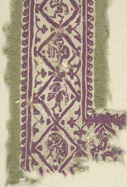 Coptic. <em>Band Fragment with Human and Botanical Decorations</em>, 8th-9th century C.E. Flax, wool, 12 3/4 x 4 in. (32.4 x 10.2 cm). Brooklyn Museum, Gift of the Egypt Exploration Fund, 15.443. Creative Commons-BY (Photo: Brooklyn Museum (in collaboration with Index of Christian Art, Princeton University), CUR.15.443_detail01_ICA.jpg)