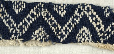 Coptic. <em>Fragment with Geometric Decoration</em>, 6th century C.E. Flax, wool, 1 x 7 in. (2.5 x 17.8 cm). Brooklyn Museum, Gift of the Egypt Exploration Fund, 15.444e. Creative Commons-BY (Photo: Brooklyn Museum (in collaboration with Index of Christian Art, Princeton University), CUR.15.444E_detail01_ICA.jpg)