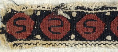 Coptic. <em>Band Fragment with S-Motif Decoration</em>, 5th-6th century C.E. Flax, wool, 1 x 6 in. (2.5 x 15.2 cm). Brooklyn Museum, Gift of the Egypt Exploration Fund, 15.451a. Creative Commons-BY (Photo: Brooklyn Museum (in collaboration with Index of Christian Art, Princeton University), CUR.15.451A_detail01_ICA.jpg)