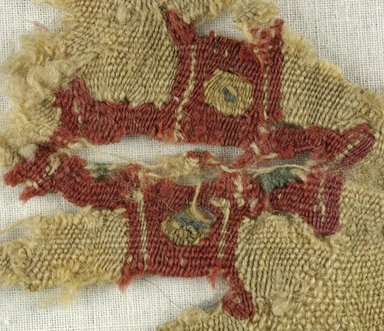 Coptic. <em>Fragment with Cross Decoration</em>, 5th-6th century C.E. Linen, wool, 6 x 6 in. (15.2 x 15.2 cm). Brooklyn Museum, Gift of the Egypt Exploration Fund, 15.452. Creative Commons-BY (Photo: Brooklyn Museum (in collaboration with Index of Christian Art, Princeton University), CUR.15.452_detail01_ICA.jpg)
