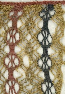 Coptic. <em>Netted Weave Fragment</em>, 6th century C.E. Wool, 6 x 6 in. (15.2 x 15.2 cm). Brooklyn Museum, Gift of the Egypt Exploration Fund, 15.454. Creative Commons-BY (Photo: Brooklyn Museum (in collaboration with Index of Christian Art, Princeton University), CUR.15.454_detail01_ICA.jpg)