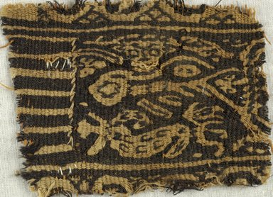 Coptic. <em>Nereid Riding Sea Monster</em>, 6th century C.E. Linen, wool, 1 x 3 in. (2.5 x 7.6 cm). Brooklyn Museum, Gift of the Egypt Exploration Fund, 15.459. Creative Commons-BY (Photo: Brooklyn Museum (in collaboration with Index of Christian Art, Princeton University), CUR.15.459_detail01_ICA.jpg)