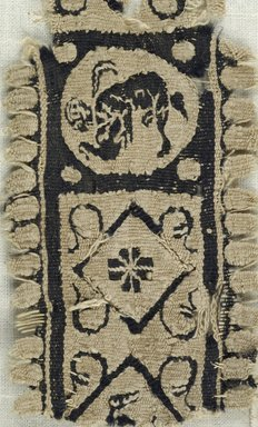 Coptic. <em>Band Fragment with Figural, Animal, and Botanical Decoration</em>, 5th century C.E. Flax, wool, 2 x 6 in. (5.1 x 15.2 cm). Brooklyn Museum, Gift of the Egypt Exploration Fund, 15.463. Creative Commons-BY (Photo: Brooklyn Museum (in collaboration with Index of Christian Art, Princeton University), CUR.15.463_detail01_ICA.jpg)