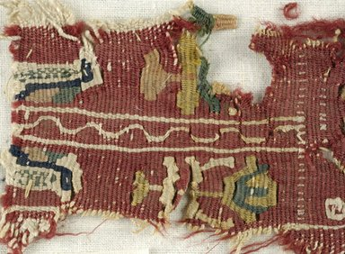 Coptic. <em>Band Fragment with Figural, Animal and Botanical Decorations</em>, 6th century C.E. Flax, wool, 3 x 8 in. (7.6 x 20.3 cm). Brooklyn Museum, Gift of the Egypt Exploration Fund, 15.464. Creative Commons-BY (Photo: Brooklyn Museum (in collaboration with Index of Christian Art, Princeton University), CUR.15.464_detail01_ICA.jpg)