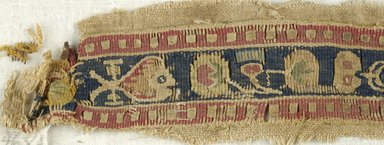 Coptic. <em>2 Band Fragments with Animal and Botanical Decoration</em>, 5th century C.E. Flax, wool, 16.468a: 2 x 16 in. (5.1 x 40.6 cm). Brooklyn Museum, Gift of the Egypt Exploration Fund, 15.468a-b. Creative Commons-BY (Photo: Brooklyn Museum (in collaboration with Index of Christian Art, Princeton University), CUR.15.468A_detail01_ICA.jpg)