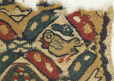 Coptic. <em>2 Square Fragments with Figural, Animal, and Potted Botanical Ornaments</em>, 5th-6th century C.E. Flax, wool, 15.469a: 9 1/4 x 9 1/4 in. (23.5 x 23.5 cm). Brooklyn Museum, Gift of the Egypt Exploration Fund, 15.469a-b. Creative Commons-BY (Photo: Brooklyn Museum (in collaboration with Index of Christian Art, Princeton University), CUR.15.469A_detail01_ICA.jpg)