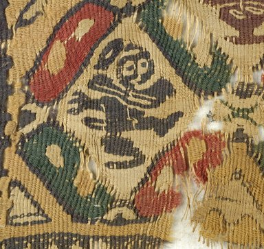 Coptic. <em>2 Square Fragments with Figural, Animal, and Potted Botanical Ornaments</em>, 5th-6th century C.E. Flax, wool, 15.469a: 9 1/4 x 9 1/4 in. (23.5 x 23.5 cm). Brooklyn Museum, Gift of the Egypt Exploration Fund, 15.469a-b. Creative Commons-BY (Photo: Brooklyn Museum (in collaboration with Index of Christian Art, Princeton University), CUR.15.469B_detail03_ICA.jpg)