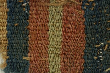 Coptic. <em>Fragment of Tabby Weave</em>, 5th-6th century C.E. Wool, 1 1/2 x 5 in. (3.8 x 12.7 cm). Brooklyn Museum, Gift of the Egypt Exploration Fund, 15.475a. Creative Commons-BY (Photo: Brooklyn Museum (in collaboration with Index of Christian Art, Princeton University), CUR.15.475A_detail01_ICA.jpg)