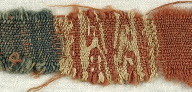 Coptic. <em>Fragment of Tabby Weave</em>, 5th-6th century C.E. Wool, 1 x 8 in. (2.5 x 20.3 cm). Brooklyn Museum, Gift of the Egypt Exploration Fund, 15.475l. Creative Commons-BY (Photo: Brooklyn Museum (in collaboration with Index of Christian Art, Princeton University), CUR.15.475L_detail01_ICA.jpg)