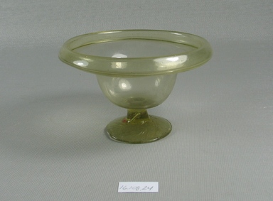 Egypto-Roman. <em>Bowl</em>, 4th century C.E. Glass, 2 5/16 x diam. 3 7/8 in. (5.8 x 9.8 cm). Brooklyn Museum, Gift of Evangeline Wilbour Blashfield, Theodora Wilbour, and Victor Wilbour honoring the wishes of their mother, Charlotte Beebe Wilbour, as a memorial to their father, Charles Edwin Wilbour, 16.108.24. Creative Commons-BY (Photo: Brooklyn Museum, CUR.16.108.24_view1.jpg)