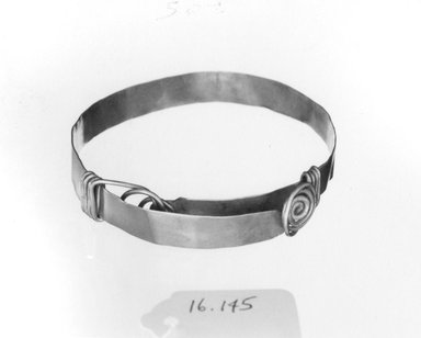Egypto-Roman. <em>Bracelet</em>, 3rd century C.E. Gold, width: 3/8 in. (1 cm); diameter: 3 7/8 in. (9.8 cm). Brooklyn Museum, Gift of Evangeline Wilbour Blashfield, Theodora Wilbour, and Victor Wilbour honoring the wishes of their mother, Charlotte Beebe Wilbour, as a memorial to their father, Charles Edwin Wilbour, 16.145. Creative Commons-BY (Photo: Brooklyn Museum, CUR.16.145_NegB_print_bw.jpg)