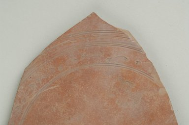 Coptic. <em>Stamped Dish Fragment</em>, 6th century C.E. Clay, 5 11/16 x 1/4 x 5 15/16 in. (14.5 x 0.7 x 15.1 cm). Brooklyn Museum, Gift of Evangeline Wilbour Blashfield, Theodora Wilbour, and Victor Wilbour honoring the wishes of their mother, Charlotte Beebe Wilbour, as a memorial to their father, Charles Edwin Wilbour, 16.154.1. Creative Commons-BY (Photo: Brooklyn Museum (in collaboration with Index of Christian Art, Princeton University), CUR.16.154.1_detail01_ICA.jpg)