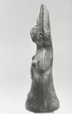 Coptic. <em>Figurine of a Female</em>, 6th-7th century C.E. Terracotta, pigment, 5 1/4 x 3 1/16 x 1 11/16 in. (13.4 x 7.8 x 4.3 cm). Brooklyn Museum, Gift of Evangeline Wilbour Blashfield, Theodora Wilbour, and Victor Wilbour honoring the wishes of their mother, Charlotte Beebe Wilbour, as a memorial to their father, Charles Edwin Wilbour, 16.160. Creative Commons-BY (Photo: Brooklyn Museum, CUR.16.160_NegF_print_bw.jpg)