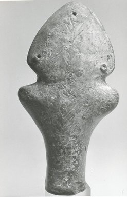 Coptic. <em>Figurine of a Female</em>, 6th-7th century C.E. Terracotta, pigment, 5 11/16 x 3 1/16 x 1 5/16 in. (14.5 x 7.7 x 3.4 cm). Brooklyn Museum, Gift of Evangeline Wilbour Blashfield, Theodora Wilbour, and Victor Wilbour honoring the wishes of their mother, Charlotte Beebe Wilbour, as a memorial to their father, Charles Edwin Wilbour, 16.161. Creative Commons-BY (Photo: Brooklyn Museum, CUR.16.161_NegF_print_bw.jpg)