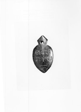Gnostic. <em>Medical Amulet for Good Digestion</em>, 2nd-4th century C.E. Steatite (?), 13/16 × 1 7/16 in. (2 × 3.6 cm). Brooklyn Museum, Gift of Evangeline Wilbour Blashfield, Theodora Wilbour, and Victor Wilbour honoring the wishes of their mother, Charlotte Beebe Wilbour, as a memorial to their father, Charles Edwin Wilbour, 16.166. Creative Commons-BY (Photo: Brooklyn Museum, CUR.16.166_NegA_print_bw.jpg)