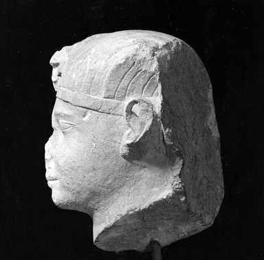 <em>Royal Head</em>, 4th century B.C.E. Limestone, 8 1/4 x 6 11/16 in. (21 x 17 cm). Brooklyn Museum, Gift of Evangeline Wilbour Blashfield, Theodora Wilbour, and Victor Wilbour honoring the wishes of their mother, Charlotte Beebe Wilbour, as a memorial to their father, Charles Edwin Wilbour, 16.169. Creative Commons-BY (Photo: Brooklyn Museum, CUR.16.169_NegCEG1483_print_bw.jpg)