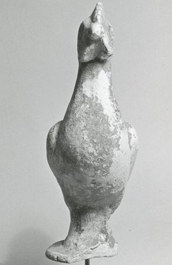 Graeco-Egyptian. <em>Figure of a Rooster</em>. Plaster, pigment, 7 9/16 x 7 1/2 x 2 3/4 in. (19.2 x 19 x 7 cm). Brooklyn Museum, Gift of Evangeline Wilbour Blashfield, Theodora Wilbour, and Victor Wilbour honoring the wishes of their mother, Charlotte Beebe Wilbour, as a memorial to their father, Charles Edwin Wilbour, 16.203. Creative Commons-BY (Photo: Brooklyn Museum, CUR.16.203_NegE_print_bw.jpg)