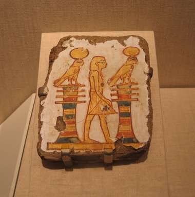 <em>Painting of a Standing King</em>, ca. 1539-1070 B.C.E. Mud, plaster, pigment, 5 5/16 x 1 5/16 x 4 5/16 in. (13.5 x 3.4 x 11 cm). Brooklyn Museum, Gift of Evangeline Wilbour Blashfield, Theodora Wilbour, and Victor Wilbour honoring the wishes of their mother, Charlotte Beebe Wilbour, as a memorial to their father, Charles Edwin Wilbour, 16.208. Creative Commons-BY (Photo: Brooklyn Museum, CUR.16.208_wwg8.jpg)