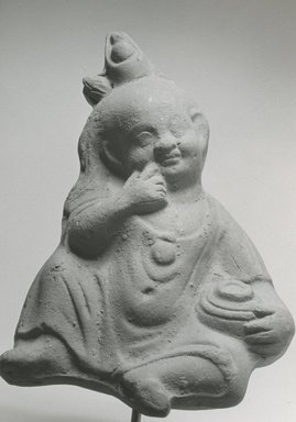<em>Seated Harpocrates with Jar</em>, 2nd-3rd century C.E. Terracotta, pigment, 6 11/16 x 4 5/16 x 1 13/16 in. (17 x 10.9 x 4.6 cm). Brooklyn Museum, Gift of Evangeline Wilbour Blashfield, Theodora Wilbour, and Victor Wilbour honoring the wishes of their mother, Charlotte Beebe Wilbour, as a memorial to their father, Charles Edwin Wilbour, 16.213. Creative Commons-BY (Photo: Brooklyn Museum, CUR.16.213_NegA_print_bw.jpg)