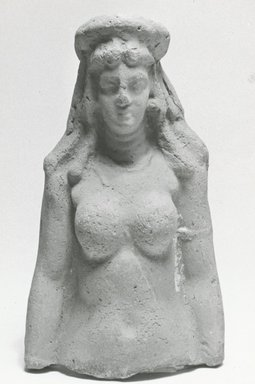 <em>Fragmentary Statuette of a Nude Female</em>, 30 B.C.E.-395 C.E. Clay, pigment, 4 3/8 x 2 5/8 x 1 9/16 in. (11.1 x 6.7 x 4 cm). Brooklyn Museum, Gift of Evangeline Wilbour Blashfield, Theodora Wilbour, and Victor Wilbour honoring the wishes of their mother, Charlotte Beebe Wilbour, as a memorial to their father, Charles Edwin Wilbour, 16.218. Creative Commons-BY (Photo: Brooklyn Museum, CUR.16.218_NegA_print_bw.jpg)