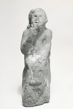 <em>Seated Statuette of Harpocrates</em>, 2nd-4th century C.E. Terracotta, pigment, 3 7/8 x 1 15/16 x 1 1/4 in. (9.8 x 4.9 x 3.2 cm). Brooklyn Museum, Gift of Evangeline Wilbour Blashfield, Theodora Wilbour, and Victor Wilbour honoring the wishes of their mother, Charlotte Beebe Wilbour, as a memorial to their father, Charles Edwin Wilbour, 16.221. Creative Commons-BY (Photo: Brooklyn Museum, CUR.16.221_NegA_print_bw.jpg)