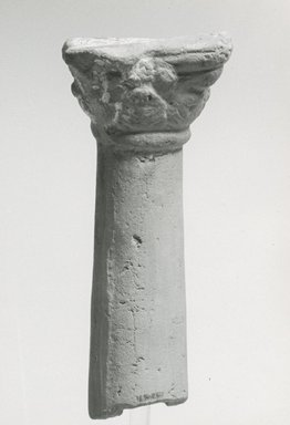<em>Column</em>, 2nd-3rd century C.E. Terracotta, pigment, 4 1/2 × 1 1/4 in. (11.5 × 3.2 cm). Brooklyn Museum, Gift of Evangeline Wilbour Blashfield, Theodora Wilbour, and Victor Wilbour honoring the wishes of their mother, Charlotte Beebe Wilbour, as a memorial to their father, Charles Edwin Wilbour, 16.267. Creative Commons-BY (Photo: Brooklyn Museum, CUR.16.267_NegA_print_bw.jpg)