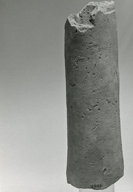 <em>Fragment of a Hollow Cylinder</em>. Terracotta, pigment, 5 3/8 x Greatest Diam. 1 5/8 in. (13.7 x 4.2 cm). Brooklyn Museum, Gift of Evangeline Wilbour Blashfield, Theodora Wilbour, and Victor Wilbour honoring the wishes of their mother, Charlotte Beebe Wilbour, as a memorial to their father, Charles Edwin Wilbour, 16.269. Creative Commons-BY (Photo: Brooklyn Museum, CUR.16.269_NegC_print_bw.jpg)