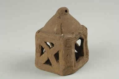 <em>House-Shaped Lamp</em>. Terracotta, 4 3/4 x 3 3/8 x 3 3/8 in. (12 x 8.5 x 8.5 cm). Brooklyn Museum, Gift of Evangeline Wilbour Blashfield, Theodora Wilbour, and Victor Wilbour honoring the wishes of their mother, Charlotte Beebe Wilbour, as a memorial to their father, Charles Edwin Wilbour, 16.273. Creative Commons-BY (Photo: Brooklyn Museum (in collaboration with Index of Christian Art, Princeton University), CUR.16.273_view1_ICA.jpg)