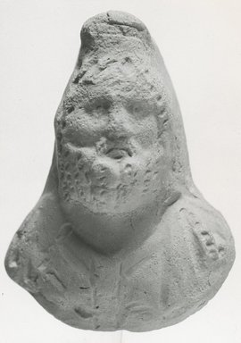 <em>Relief Bust of Serapis</em>, 3rd century C.E. Terracotta, 2 3/4 x 2 1/16 in. (7 x 5.2 cm). Brooklyn Museum, Gift of Evangeline Wilbour Blashfield, Theodora Wilbour, and Victor Wilbour honoring the wishes of their mother, Charlotte Beebe Wilbour, as a memorial to their father, Charles Edwin Wilbour, 16.285. Creative Commons-BY (Photo: Brooklyn Museum, CUR.16.285_NegA_print_bw.jpg)
