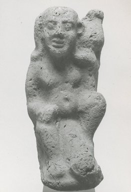 <em>Statuette of the Child Horus</em>, 3rd century C.E. Terracotta, pigment, 4 9/16 x 1 3/4 x 1 1/8 in. (11.6 x 4.5 x 2.9 cm). Brooklyn Museum, Gift of Evangeline Wilbour Blashfield, Theodora Wilbour, and Victor Wilbour honoring the wishes of their mother, Charlotte Beebe Wilbour, as a memorial to their father, Charles Edwin Wilbour, 16.297. Creative Commons-BY (Photo: Brooklyn Museum, CUR.16.297_NegA_print_bw.jpg)
