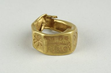 Coptic. <em>Finger Ring with Inscription</em>, 5th-6th century C.E. Gold, Diam. 5/8 in. (1.6 cm). Brooklyn Museum, Gift of Evangeline Wilbour Blashfield, Theodora Wilbour, and Victor Wilbour honoring the wishes of their mother, Charlotte Beebe Wilbour, as a memorial to their father, Charles Edwin Wilbour, 16.320. Creative Commons-BY (Photo: Brooklyn Museum (in collaboration with Index of Christian Art, Princeton University), CUR.16.320_view1_ICA.jpg)
