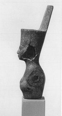 <em>Head and Bust of Neith</em>. Bronze, 3 11/16 x 1 3/8 in. (9.3 x 3.5 cm). Brooklyn Museum, Gift of Evangeline Wilbour Blashfield, Theodora Wilbour, and Victor Wilbour honoring the wishes of their mother, Charlotte Beebe Wilbour, as a memorial to their father, Charles Edwin Wilbour, 16.382. Creative Commons-BY (Photo: Brooklyn Museum, CUR.16.382_print_NegB_bw.jpg)