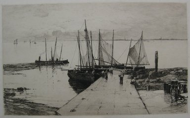 Charles Adams Platt (American, 1861-1933). <em>Pier at Larmor</em>, 1885. Etching on heavy machine-made Japan paper, Sheet: 17 3/8 x 22 1/2 in. (44.1 x 57.2 cm). Brooklyn Museum, Gift of Kennedy & Company, 16.444 (Photo: Brooklyn Museum, CUR.16.444.jpg)