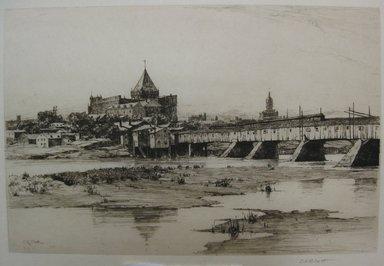Charles Adams Platt (American, 1861-1933). <em>Hartford Bridge</em>, 1885. Etching on handmade Japan paper, Sheet: 19 1/2 x 25 9/16 in. (49.5 x 64.9 cm). Brooklyn Museum, Gift of Kennedy & Company, 16.445 (Photo: Brooklyn Museum, CUR.16.445.jpg)