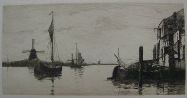 Charles Adams Platt (American, 1861-1933). <em>Evening on the Maas</em>, 1884. Etching on heavy, machine-made Japan paper, Sheet: 17 5/16 x 22 1/2 in. (44 x 57.2 cm). Brooklyn Museum, Gift of Kennedy & Company, 16.447 (Photo: Brooklyn Museum, CUR.16.447.jpg)