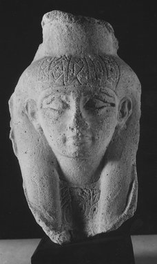 <em>Sculptor's Model of a Female Head</em>, 664-525 B.C.E., and later. Plaster, 6 3/4 × 4 5/16 in. (17.2 × 10.9 cm). Brooklyn Museum, Gift of Evangeline Wilbour Blashfield, Theodora Wilbour, and Victor Wilbour honoring the wishes of their mother, Charlotte Beebe Wilbour, as a memorial to their father, Charles Edwin Wilbour, 16.52. Creative Commons-BY (Photo: Brooklyn Museum, CUR.16.52_negA_bw.jpg)