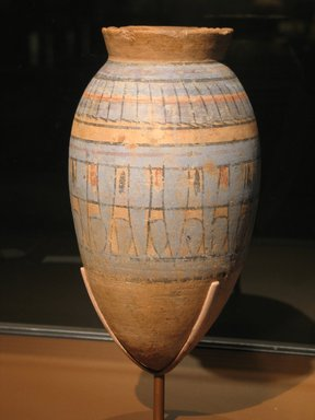<em>Blue-painted Storage Jar</em>, ca. 1332-1292 B.C.E. Clay, pigment, 11 13/16 x Diam. 6 3/8 in. (30 x 16.2 cm). Brooklyn Museum, Gift of Evangeline Wilbour Blashfield, Theodora Wilbour, and Victor Wilbour honoring the wishes of their mother, Charlotte Beebe Wilbour, as a memorial to their father Charles Edwin Wilbour, 16.580.129. Creative Commons-BY (Photo: Brooklyn Museum, CUR.16.580.129_erg456.jpg)